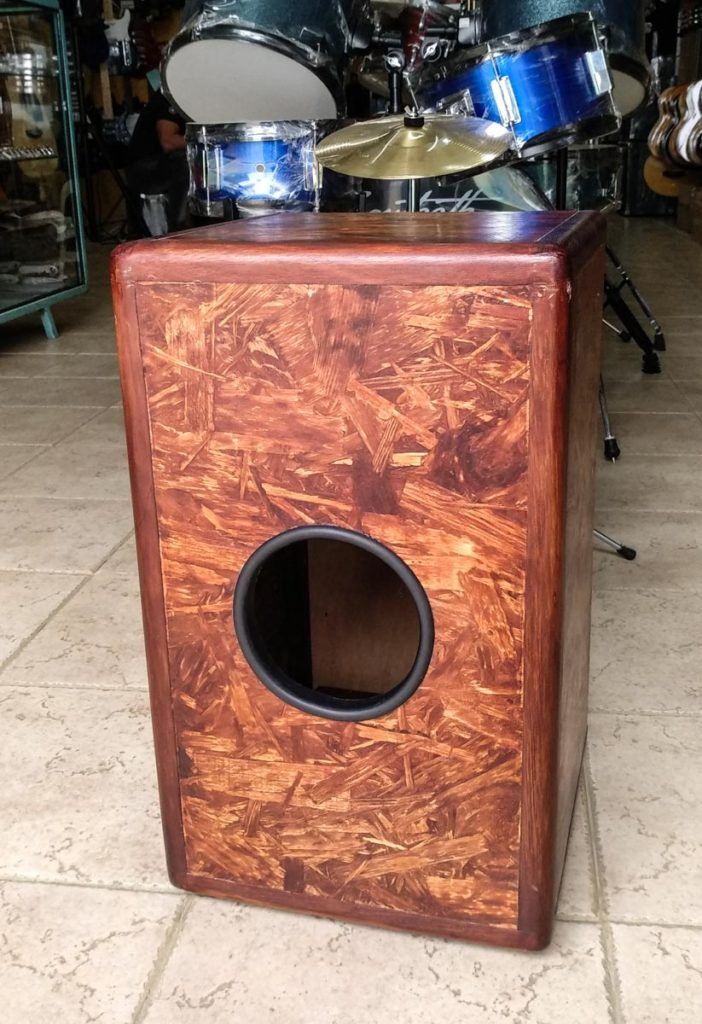 Cajon made from oriented strand-board, osb