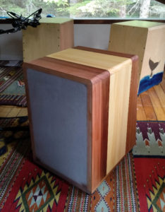 Firebox Cajon with polycarbonate back, red cedar and yellow cedar sides top and bottom.
