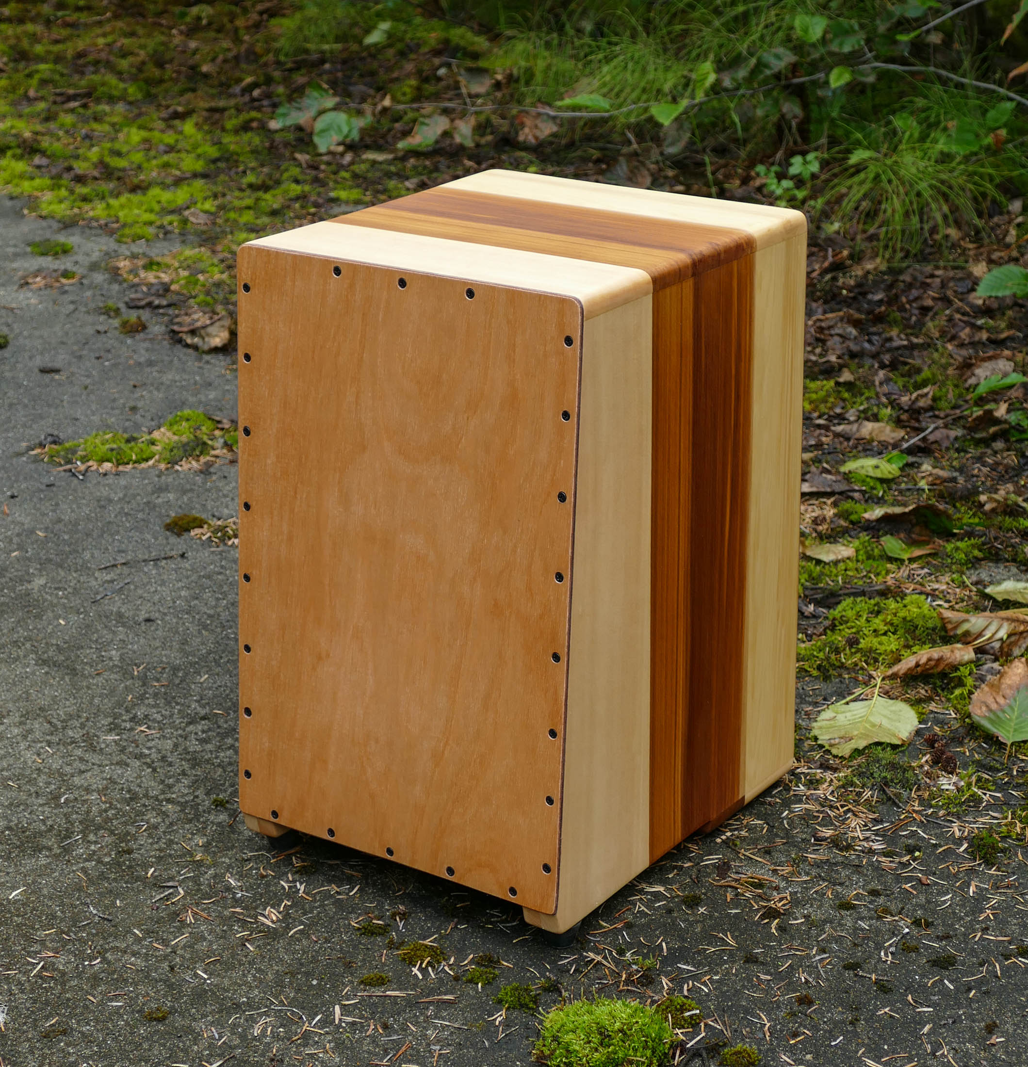 Completed cajon with a 100% pure tung oil finish.