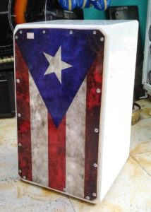 Cajon with Puerto Rica flag made in Colombia