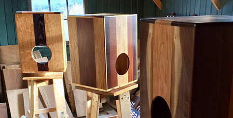Occhino Percussion cajons under construction in the USA