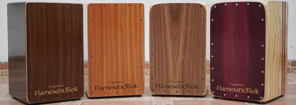 Four classic cajons by Flamentr3lok made in Chile(Photo copyright Flamentr3lock Cajon, used with permission)
