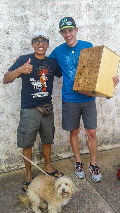 A happy customer with the cajon builder at Munuguia Percussion, Texas USA.