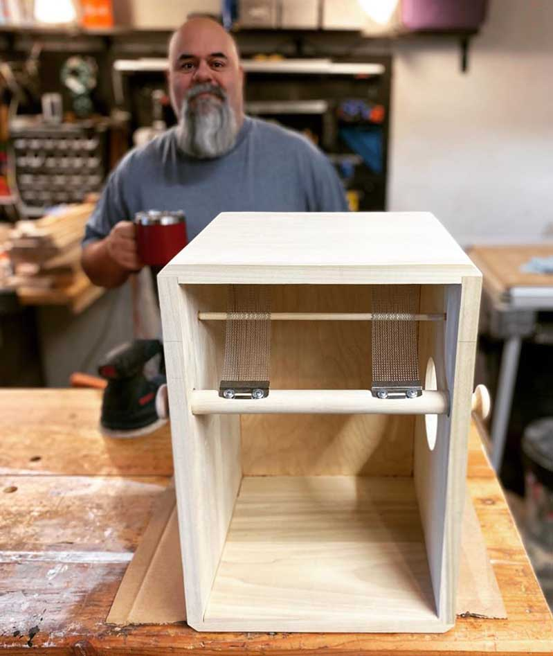 A cajon under construction by Day Drums, USA.